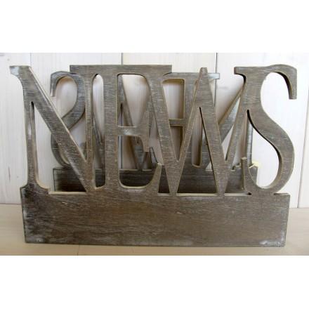 Dřevěný stojan na noviny News natural
