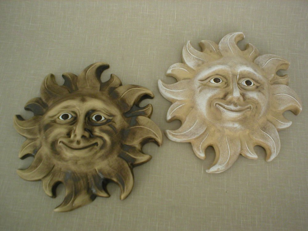 Keramika na zeď - Keramické sluníčko světlé