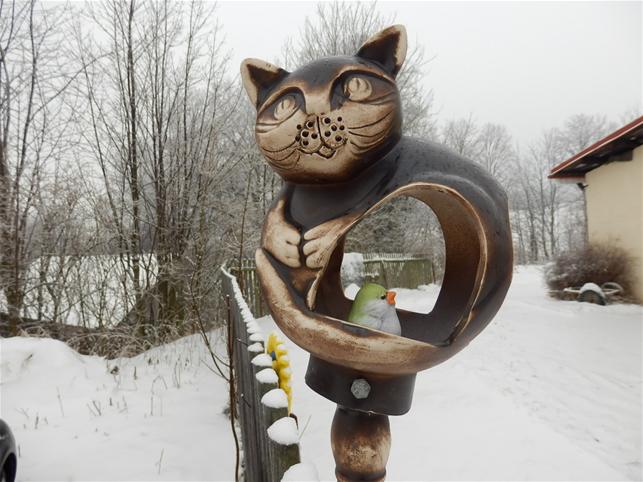 Keramické krmítko pro ptáčky Kočka Natural