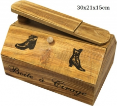 Dřevěná skříňka Botníček pro boty na krémy