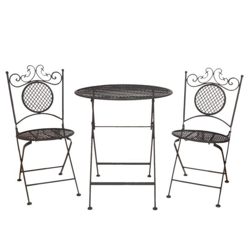 Kovový zahradní nábytek Dvě židle a stolek Kruh