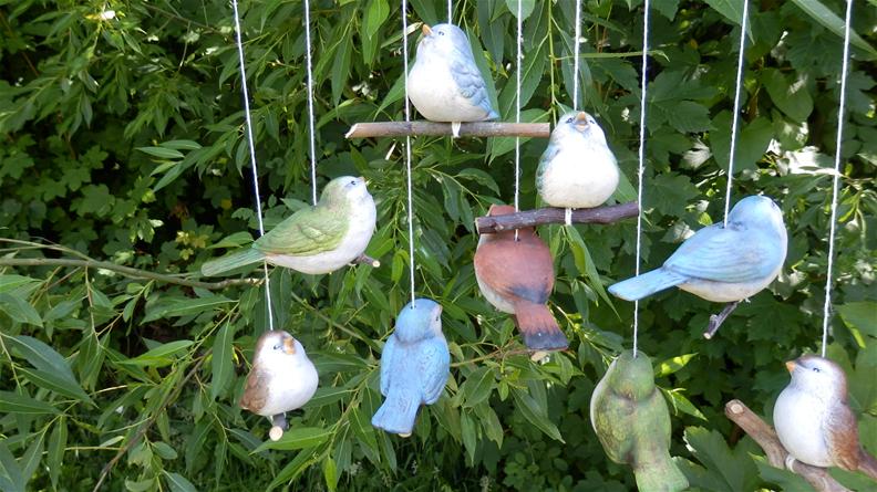 Dekorace na zahradu Ptáček keramický color sada 3ks