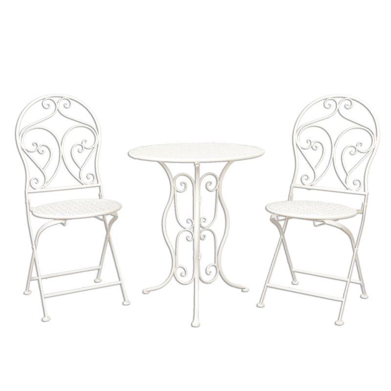 Kovový zahradní nábytek bílý Rokok