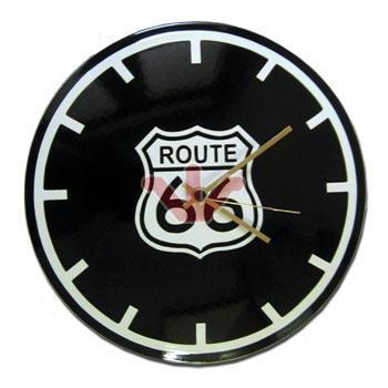 Smaltované hodiny Route 66