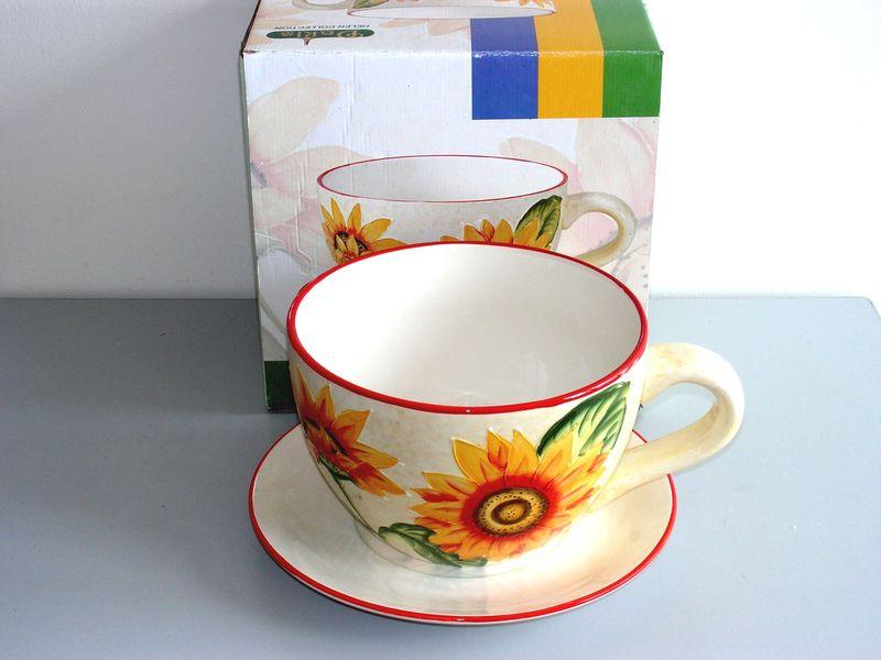 Keramický květináč MAXI Šálek Slunečnice S