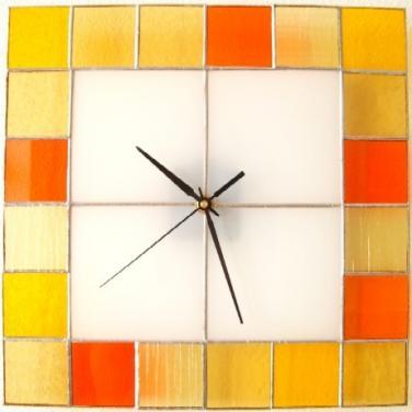 Hodiny vitrážové Čtverec - oranžové