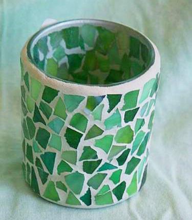 Mozaikový kalíšek na svíčku Green light