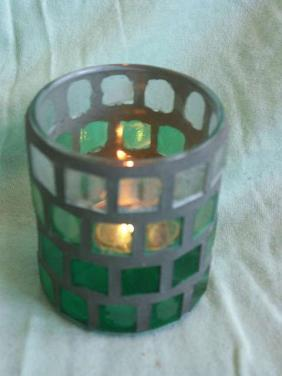 Mozaikový kalíšek na svíčku green