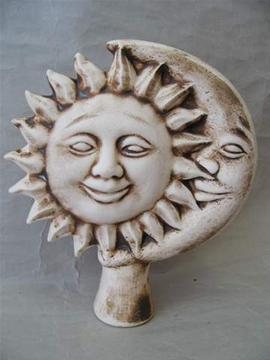 Keramická plotovka Slunce měsíc natural