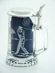 Skleněný korbel s poklopem Golf W