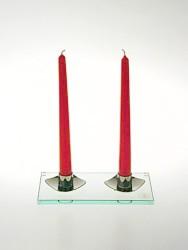 Skleněný svícen na 2 svíčky
