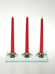 Skleněný svícen na 3 svíčky