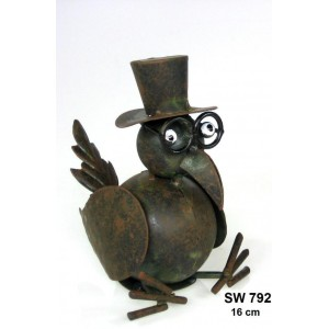Kovový pták Eduard sedící - dekorace na zahradu