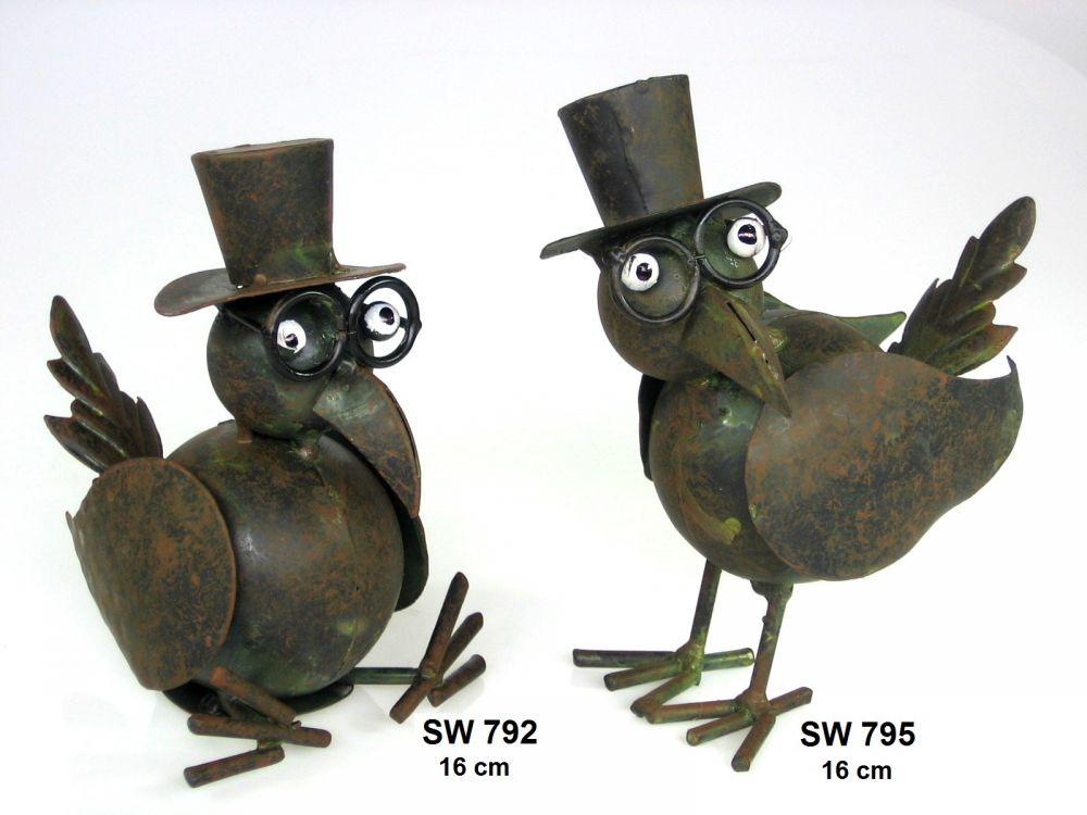 Kovový pták Eduard sedící a stojící 1+1 - dekorace na zahradu