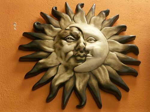 Keramika na zeď Slunce-měsíc natural