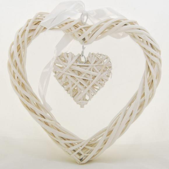 Proutěné Srdce Double white S