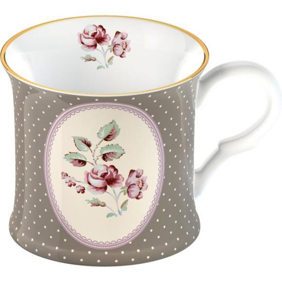 Porcelánový hrnek Biedermeier grey - Růže