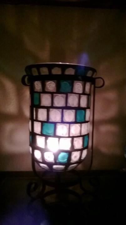 Mozaiková lampa - Green snow váza