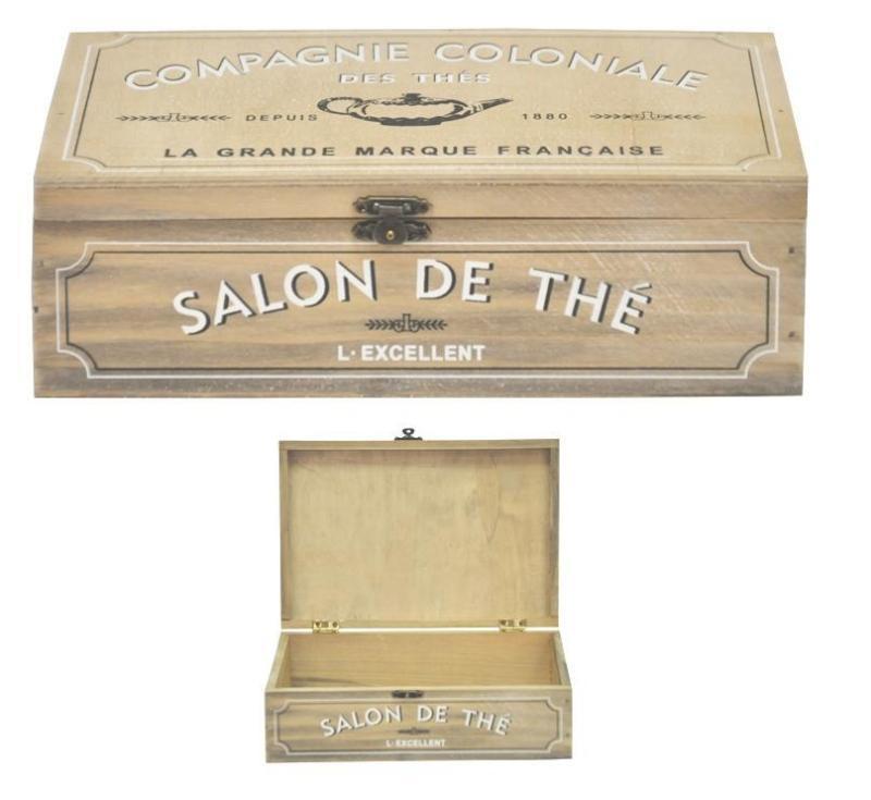 Dřevěná skříňka na čaj Salon de Thé
