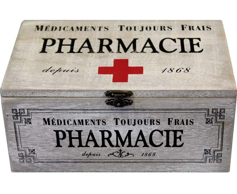 Dřevěná skříňka - Lékárnička Pharmacie - Červený kříž