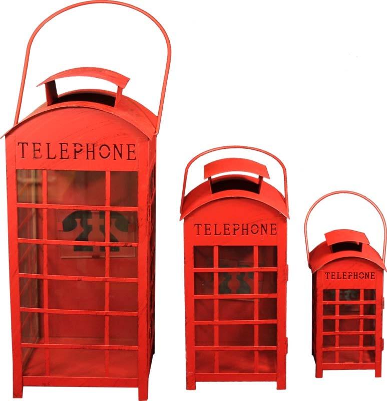 Kovové lucerny červené - Telephone Union Jack 1+1+1