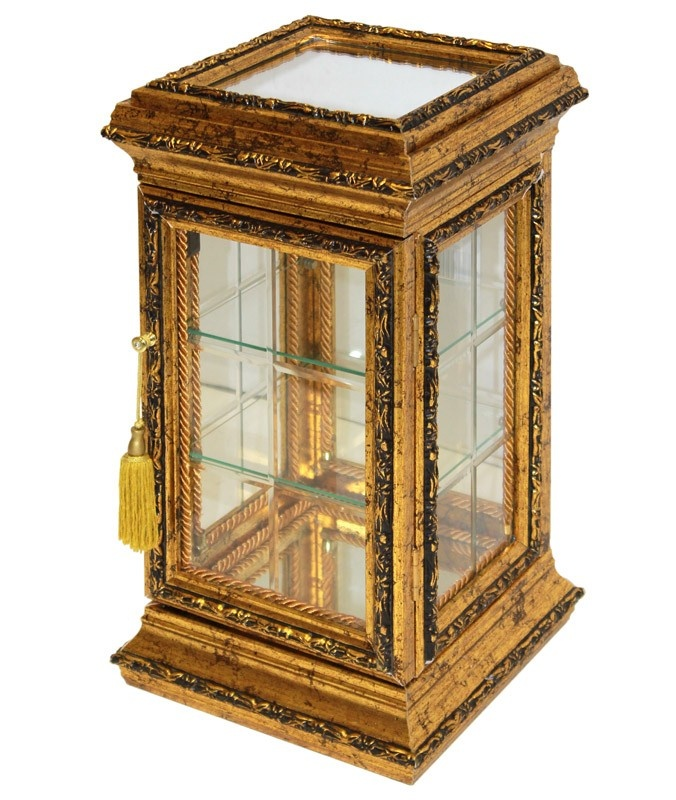 Skleněná skříňka - kabinet Gold wood S