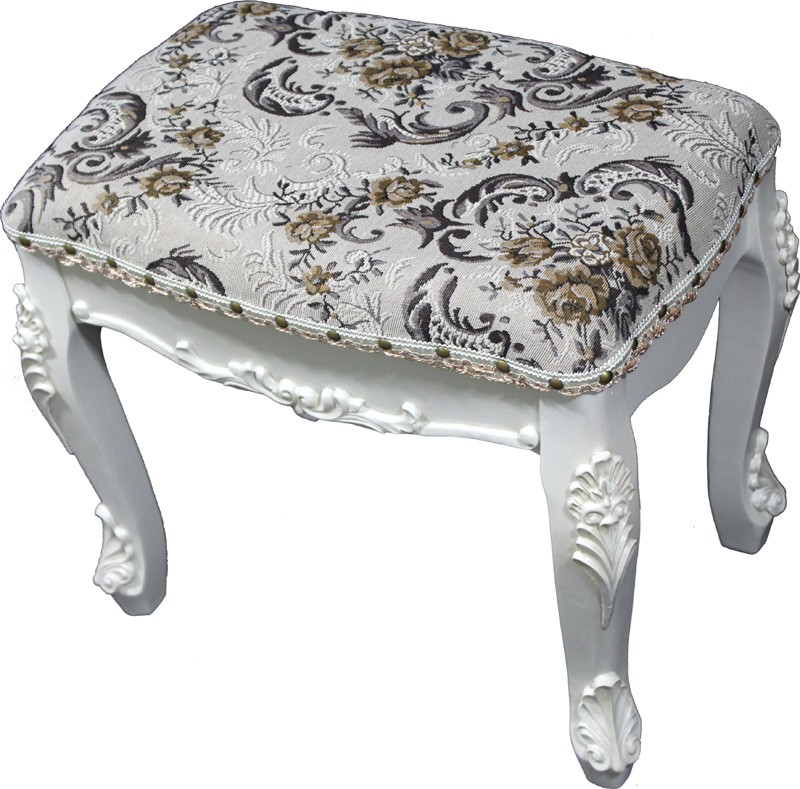 Čalouněná stolička - taburet Klasic white