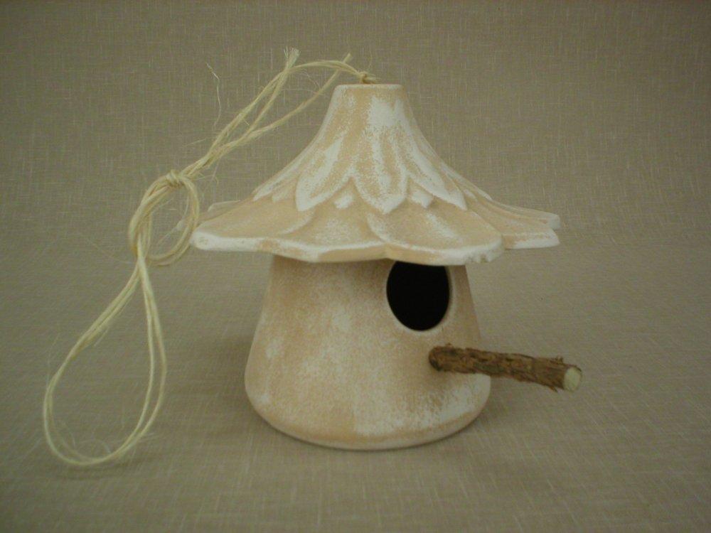 Keramická ptačí budka - krmítko White,