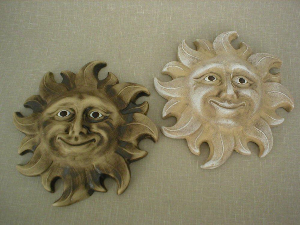 Keramika na zeď - Keramické sluníčko tmavé
