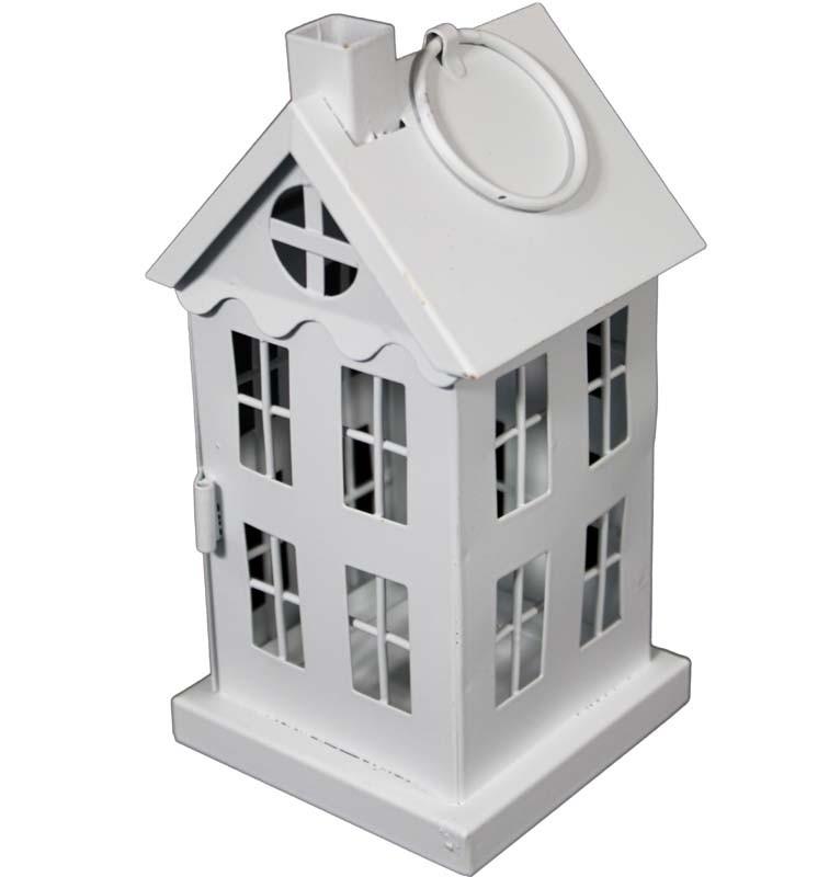 Kovová Lampa - lucerna Domeček bílý