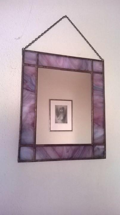 Závěsné vitrážové Zrcadlo Rose