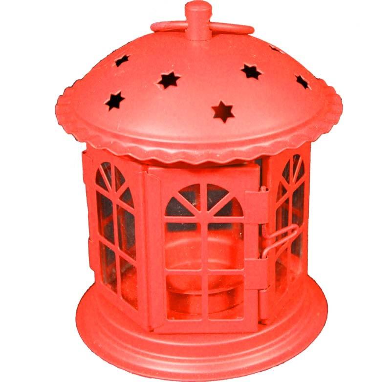 Kovová Lampa - lucerna Domeček hvězdičky červený