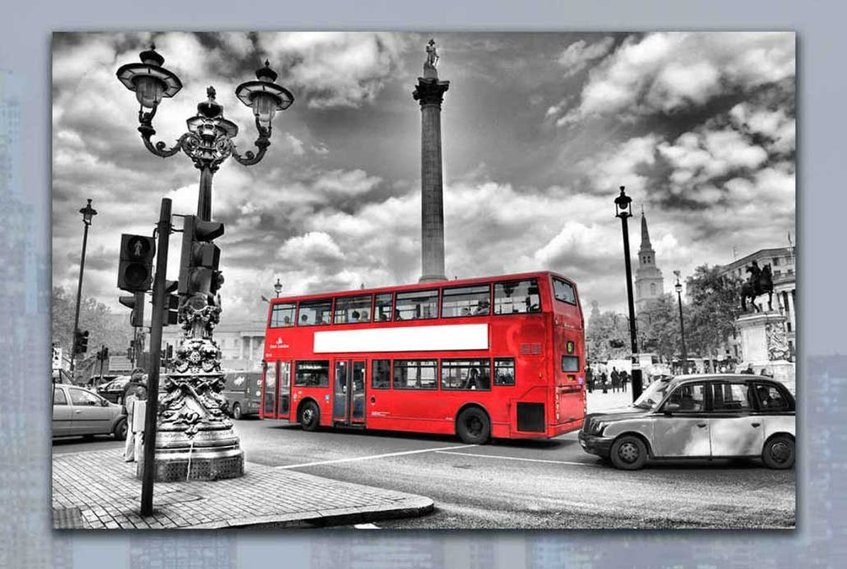 Skleněný obraz na zeď London - Red Bus