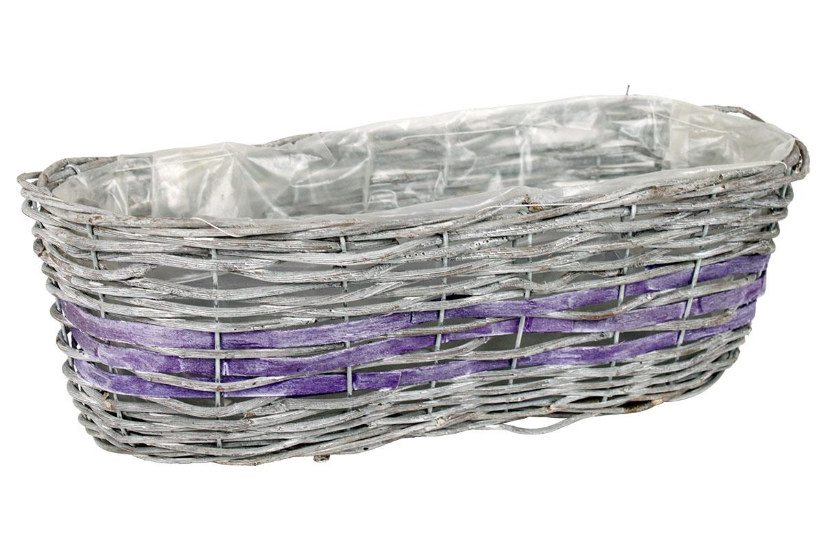 Proutěný truhlík Fialovo-šedý ovál