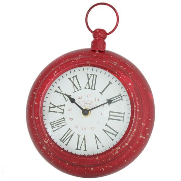 Kovové hodiny Červené