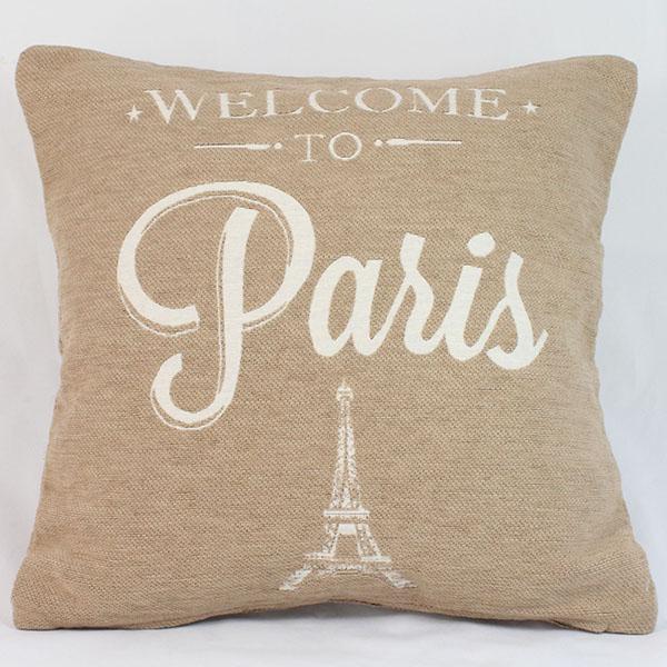 Povlak na polštář Welcome to Paris - béžový
