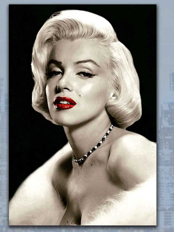 Skleněný obraz Marilyn Monroe - Red kiss