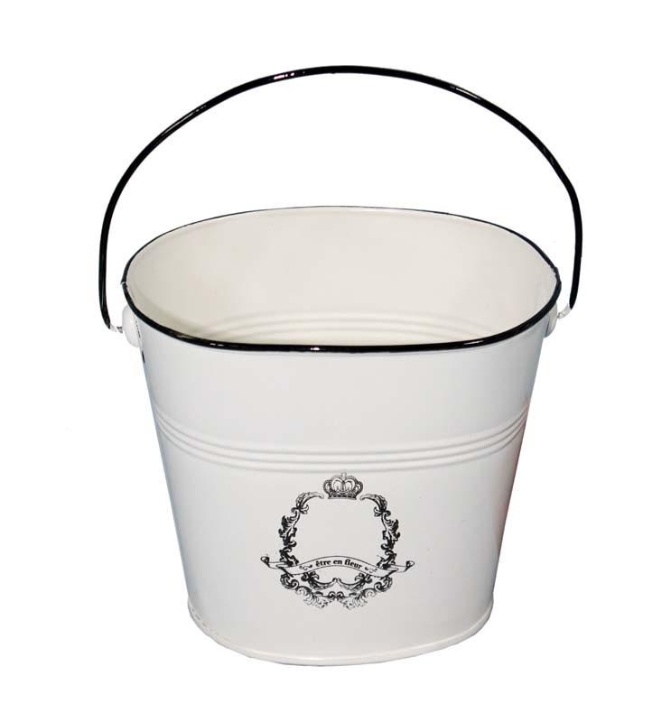 Smaltovaná nádoba - květináč Etre en fleur - kyblík