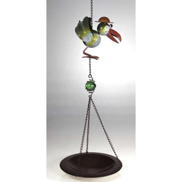 Kovové pítko s ptáčkem a skleněnou kuličkou