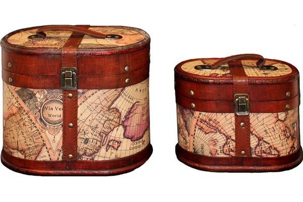 Sada dřevěných kufříků - truhlí Mapa