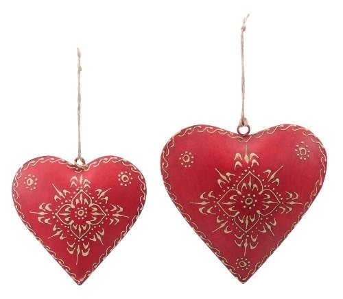 Kovové Srdce malované červené M + L sada