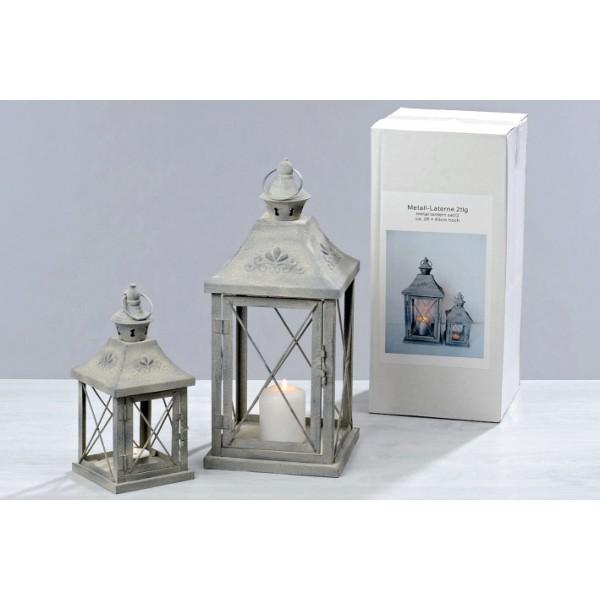 Kovové Lampy - lucerny Champaes sada 1+1 šedé