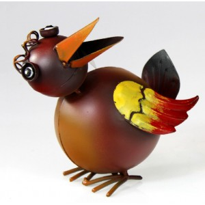 Kovový pták Jiřík s křidýlky 2 - dekorace na zahradu