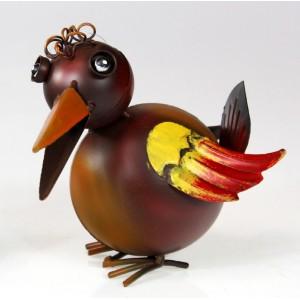 Kovový pták Jiřík s křidýlky 1 - dekorace na zahradu