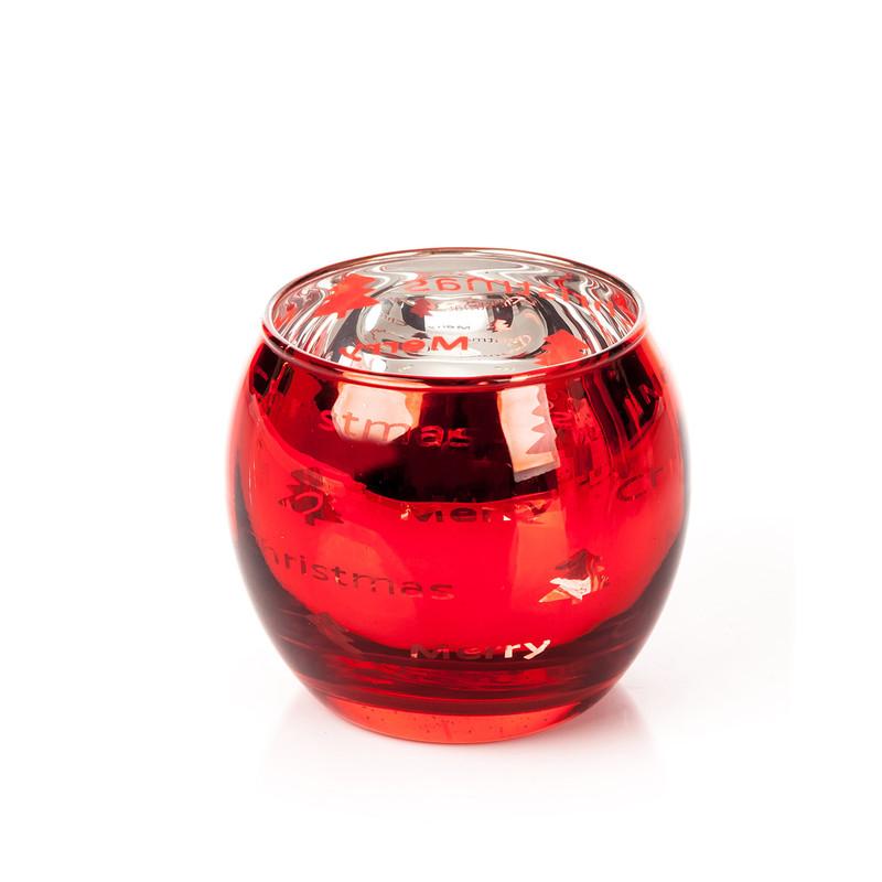 Skleněný svícen - kalíšek Christmas červený