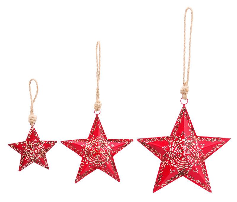 Kovová Hvězda malovaná červená S