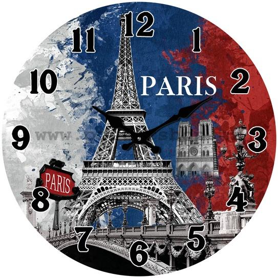 Hodiny na zeď Paris Eiffelovka