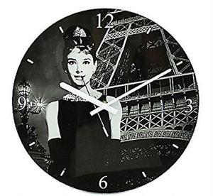 Skleněné hodiny na zeď Audrey Hepburn