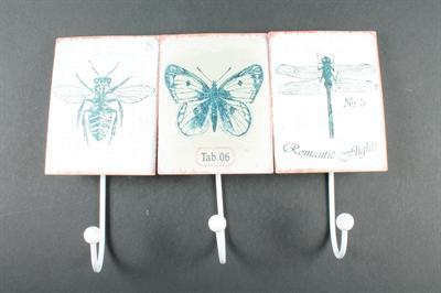 Plechový věšák Vážka - motýl