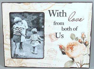 Dřevěný vintage fotorámeček With love from both of us